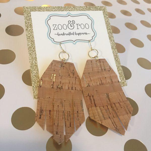 cork boho fringe earrings by zoo&roo
