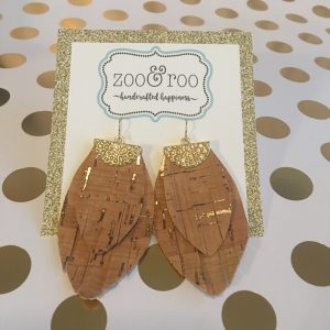 cork teardrop fringe earrings