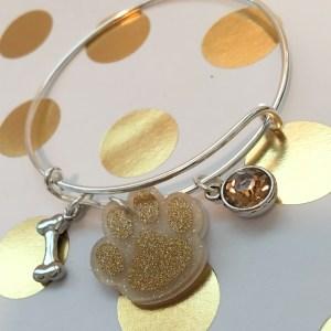 gold paw print charm bracelet
