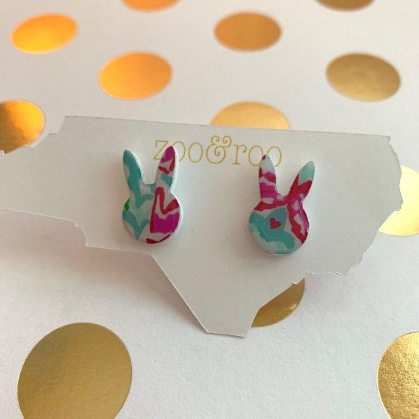 bunny earrings in lobstah print by zoo&roo