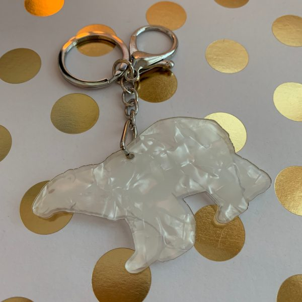 back of polar bear mother of pearl keychain