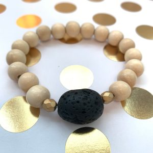 large lava bead and wood essential oil diffuser bracelet