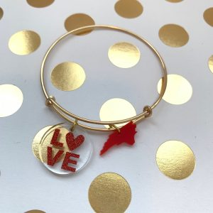 red LOVE NC charm bracelet