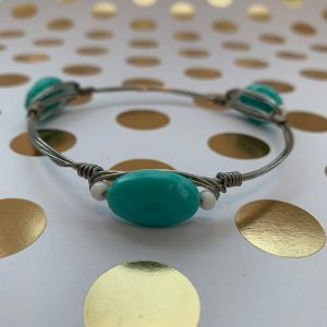 turquoise silver wire wrapped bracelet