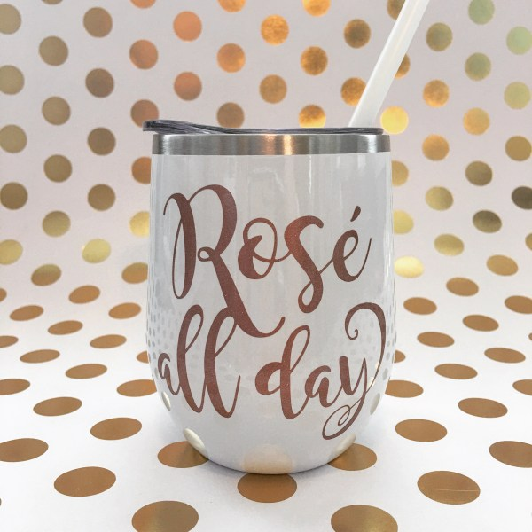 rose all day white with rose gold glitter