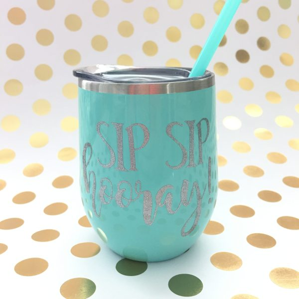 sip sip hooray mint with silver glitter