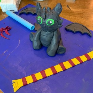 Toothless statue in process