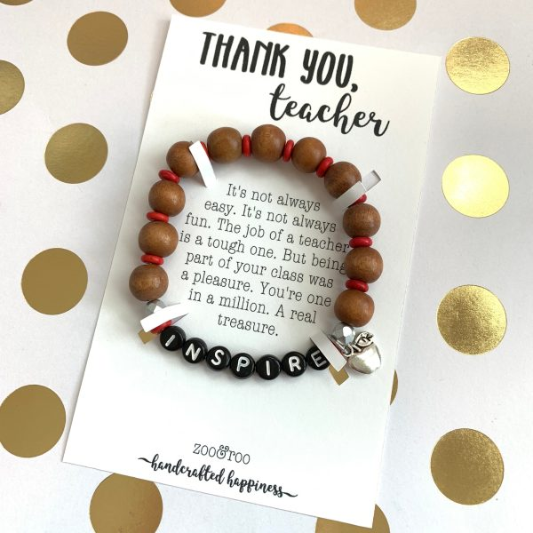 inspire wood bead bracelet for teachers by zoo&roo