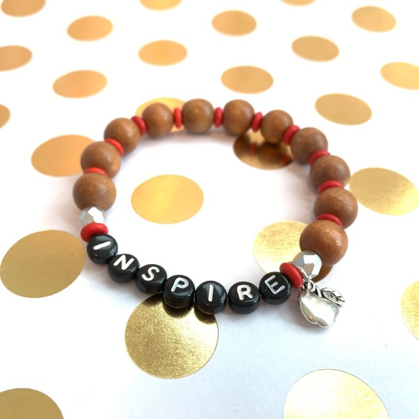 inspire wood bead bracelet with apple charm for teachers by zoo&roo