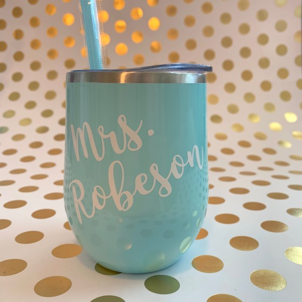 name wine tumbler seafoam with white