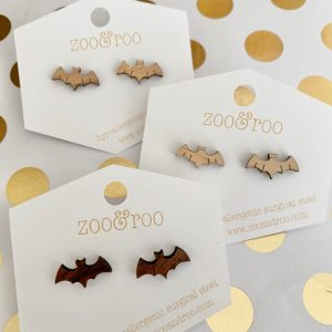 bat stud earrings wood