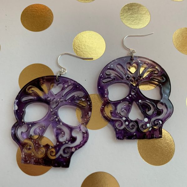 hand painted purple silver sugar skull earrings