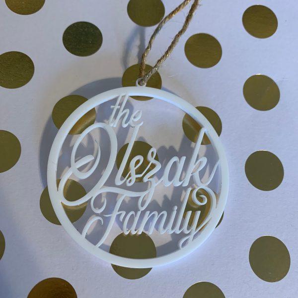 custom family name Christmas ornament