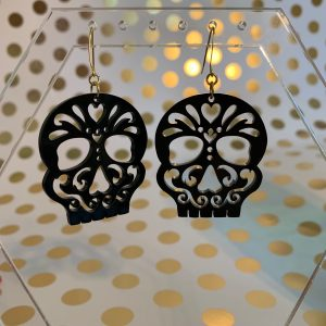 black sugar skull Halloween earrings