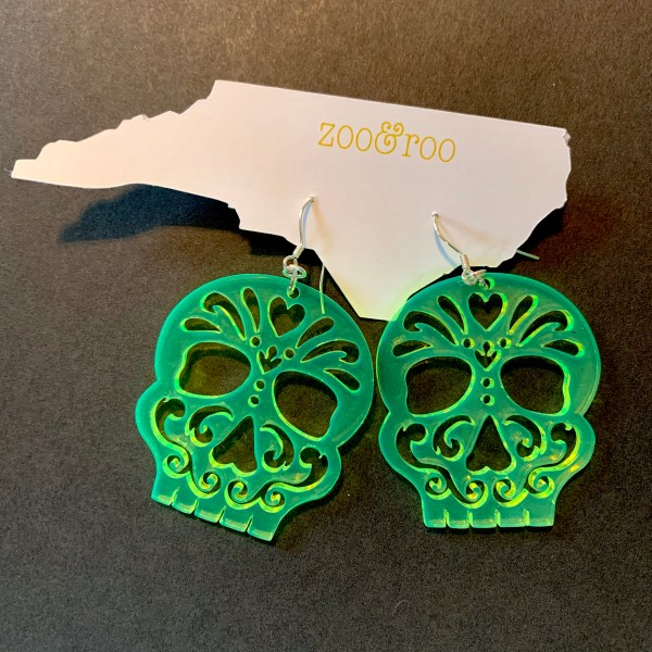 Acrylic skull Halloween earrings fluorescent green