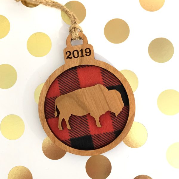 buffalo plaid and wood buffalo ornament
