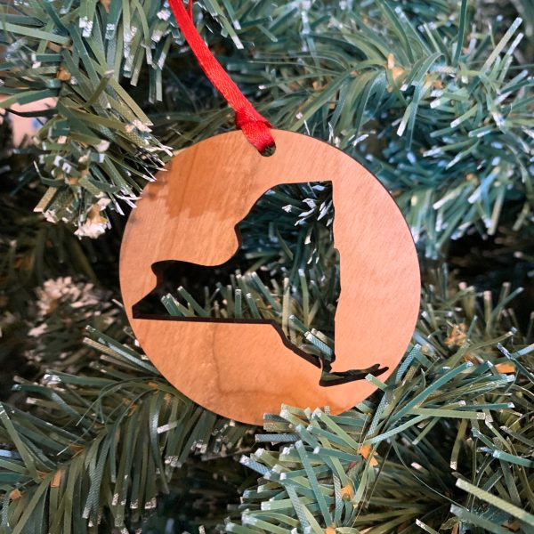 New York state cut out wood ornament