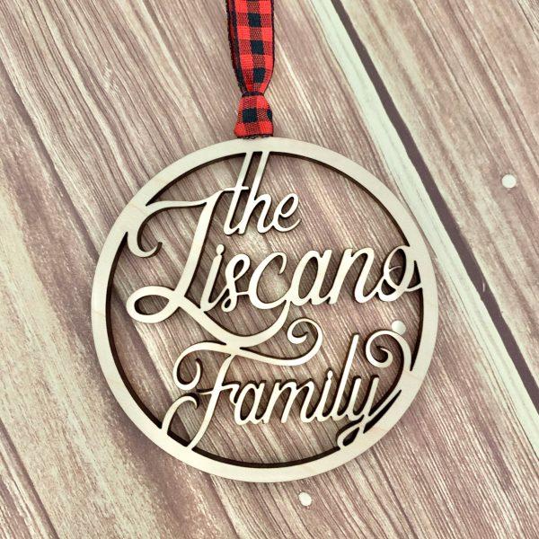 custom name ornament maple wood
