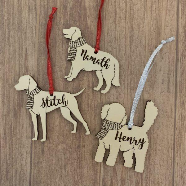 dog breed wood ornaments