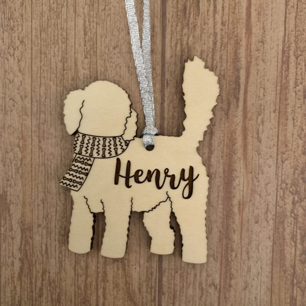 toy poodle dog breed wood ornaments