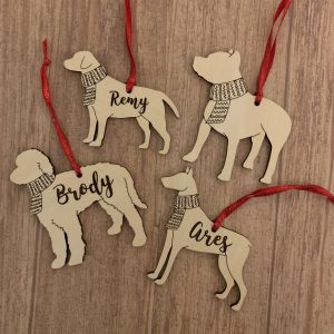 Dog breed personalized ornaments
