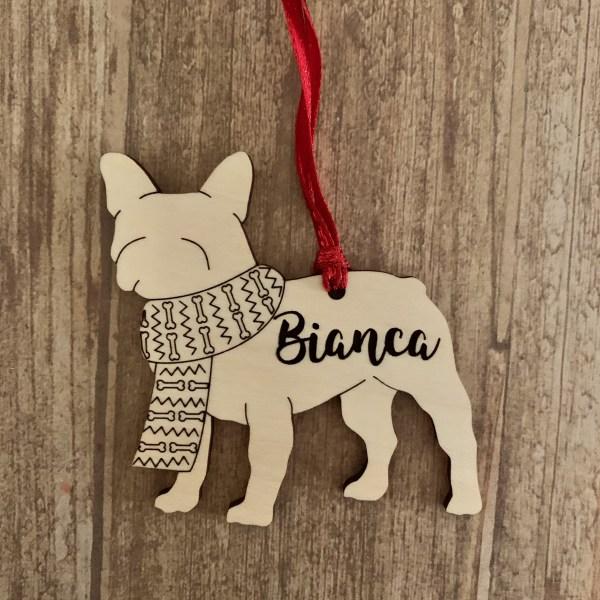 French Bulldog personalized wood Christmas ornament