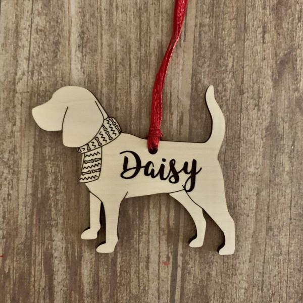 Beagle personalized wood Christmas ornament
