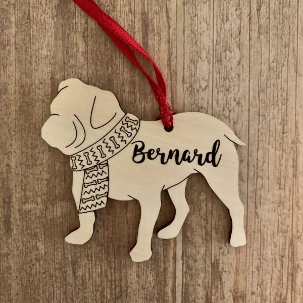 Bulldog personalized wood Christmas ornament