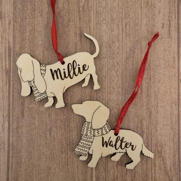 basset hound and daschund dog breed wood ornaments