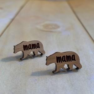 mama bear wood stud earrings