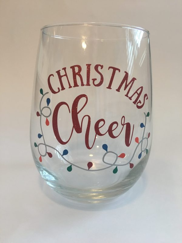 Christmas cheer wine glass