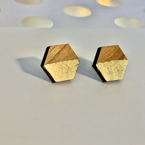 hexagon wood gold leaf stud earrings