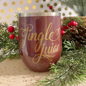 jingle juice glitter rosewood wine tumbler