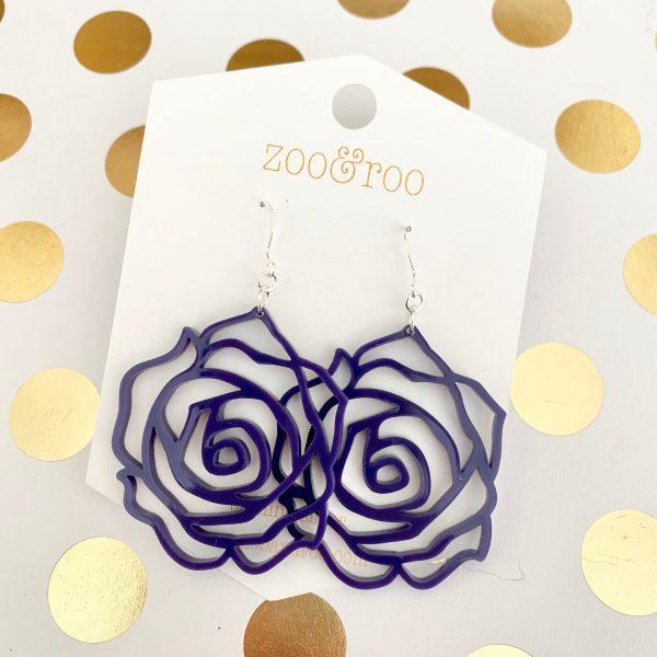 rose earrings purple