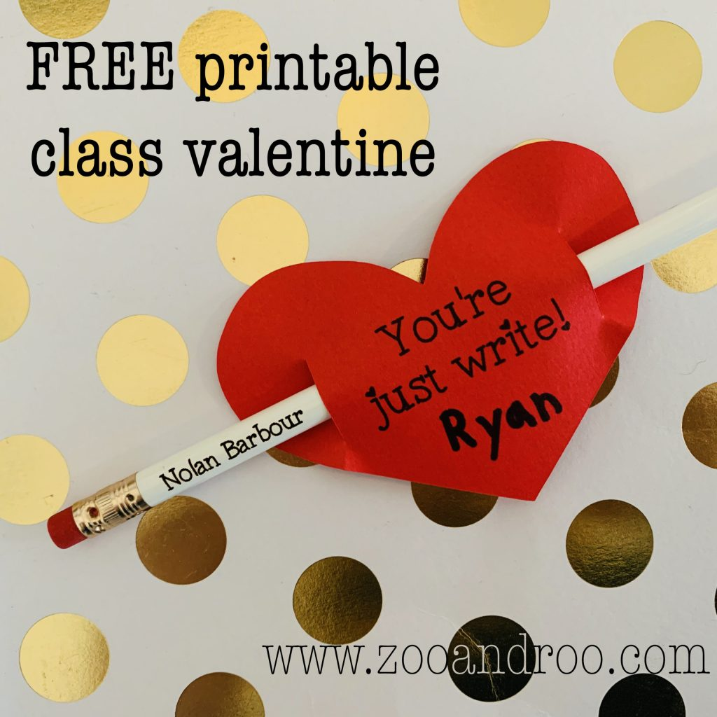 free printable class valentine at zooandroo.com