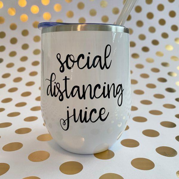 social distancing juice black on white