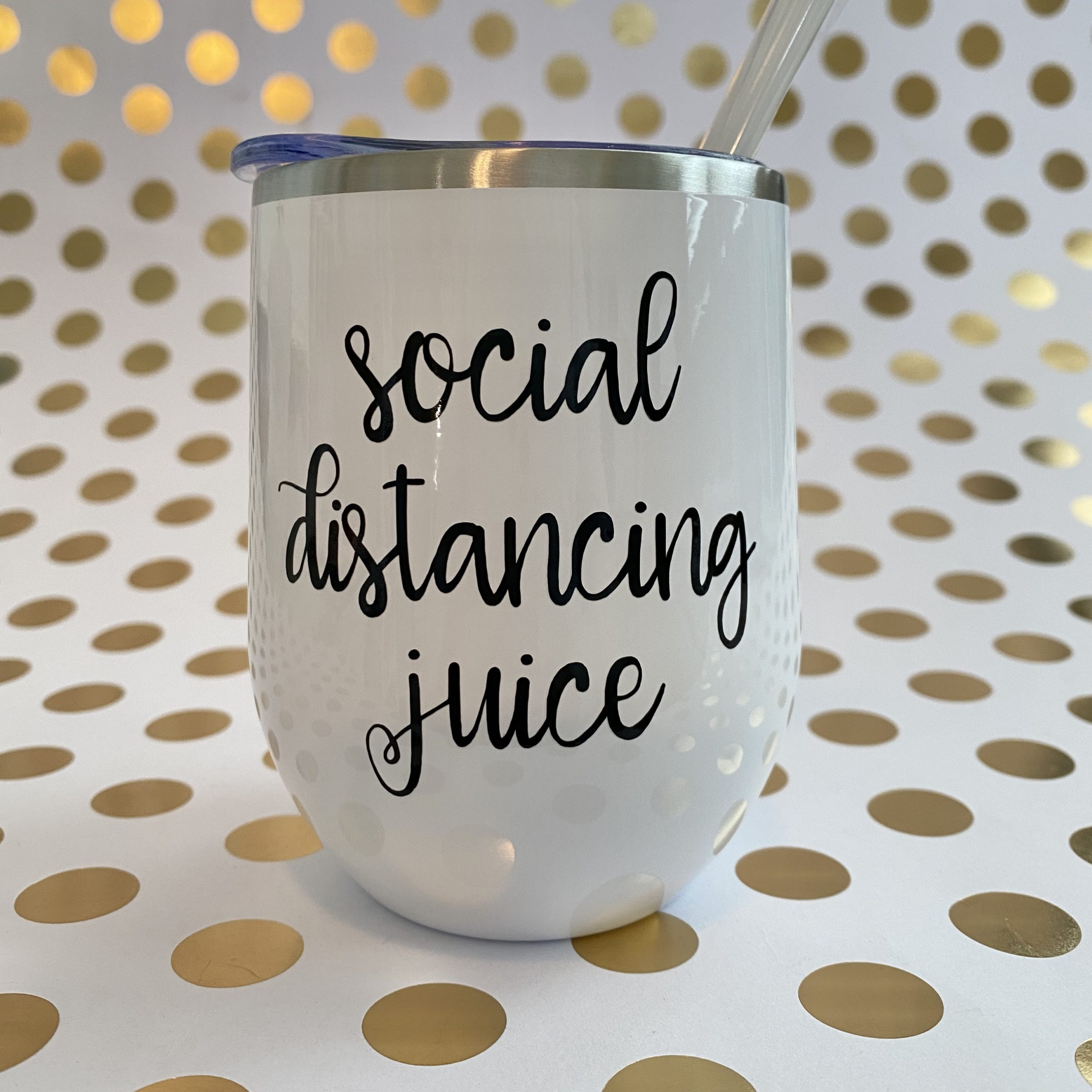 social distancing juice black on white