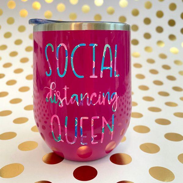 social distancing queen mermaid on fuchsia