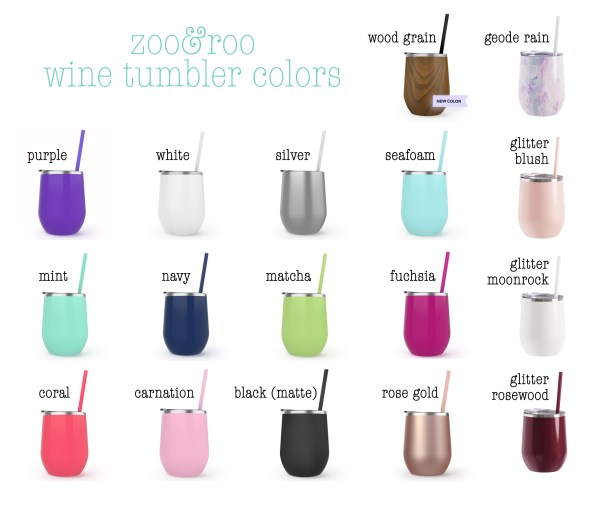 zoo&roo stainless wine tumbler color options