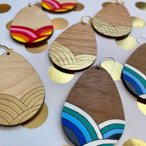 gold leaf hand painted wood teardrop earrings