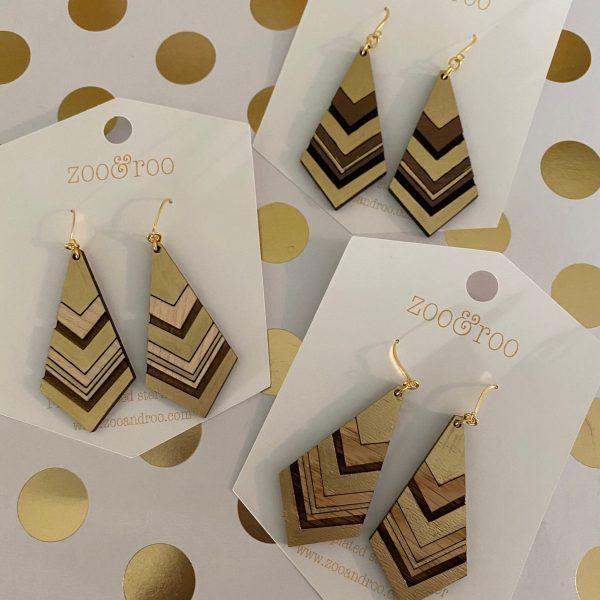 diamond gold leaf wood earrings