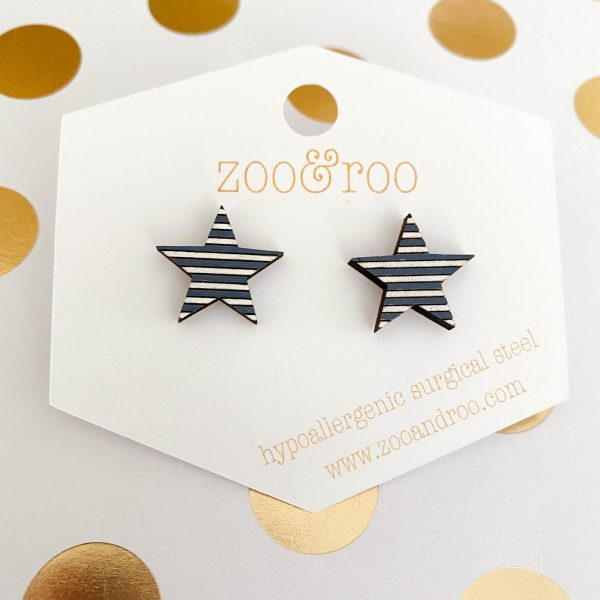 navy and white wood star earrings