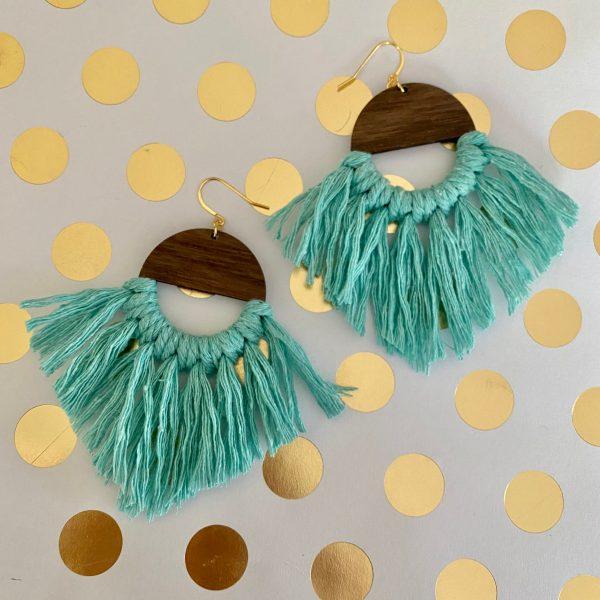 Marrakesh wood tassel earrings aqua