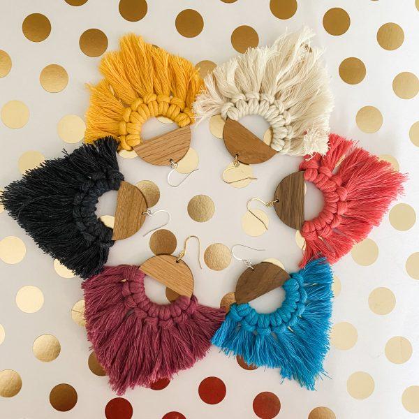 Marrakesh wood tassel earrings