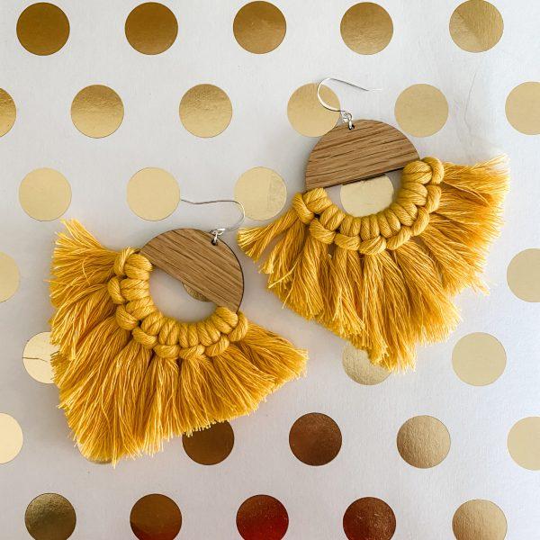 Marrakesh wood tassel earrings buttercup