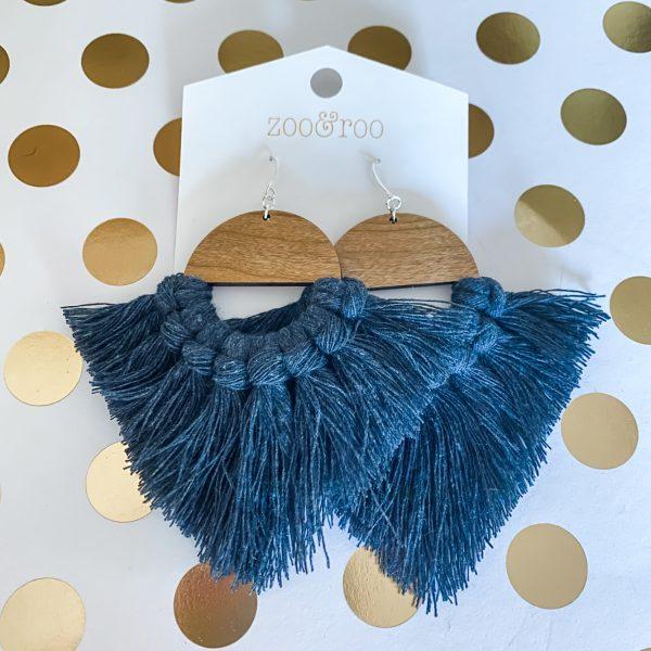 Marrakesh wood tassel earrings dark denim