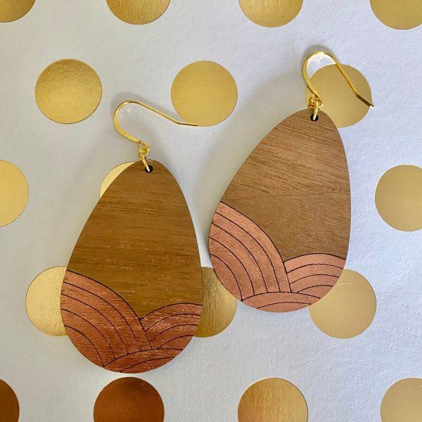 walnut with copper wood teardrop earrings