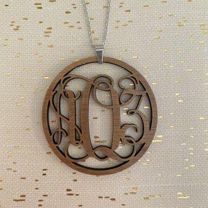 vine monogram necklace walnut