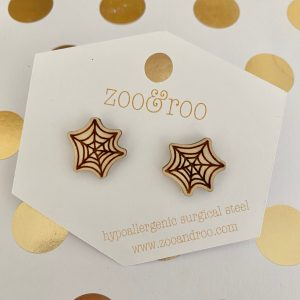 spiderweb wood stud earrings