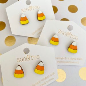 candy corn hand painted earrings